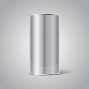 Mockup of Stainless steel Blank Tin Can packaging on grey background. Empty