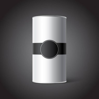 White Blank Tincan packaging mockup with black Tag