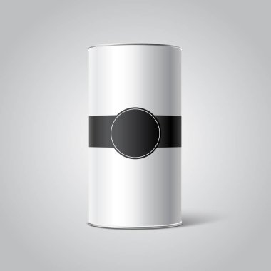 White Blank Tincan packaging mockup with black Tag on gray background