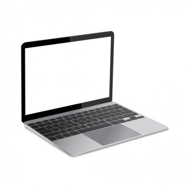 Modern Opened Gray Laptop with blank screen