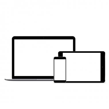 Modern laptop smartphone and digital tablet mockup with white blank screen