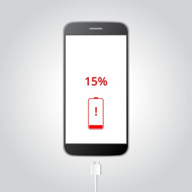 Smart phone need to charge battery,  low battery warning, 15% remaining