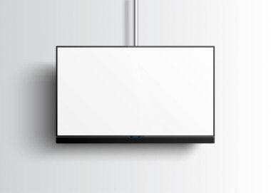 Flat Smart TV Mockup with blank white screen hanging on the tube