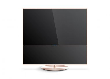 Flat Smart TV Mockup with blank screen on the Floor Stand
