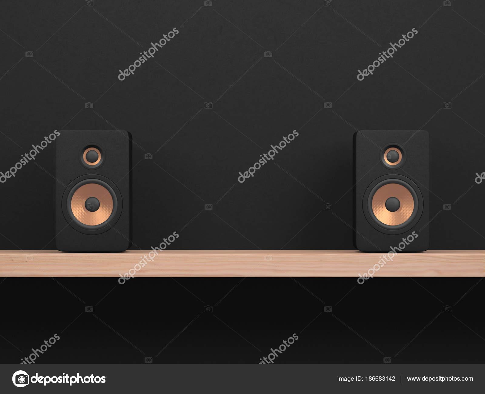 Black Way Speakers Golden Speaker Driver Wooden Shelf Dark