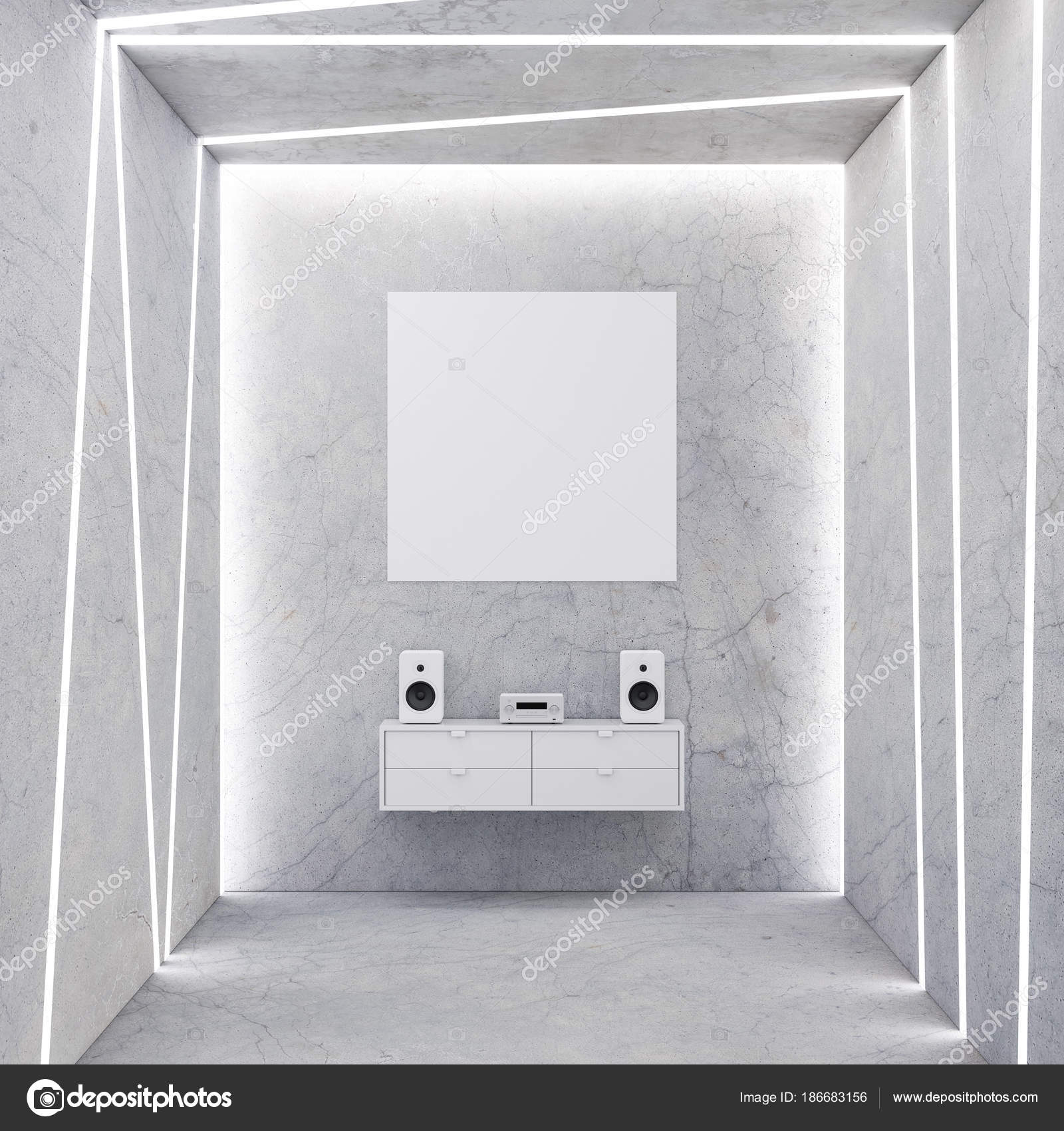 Square Poster Mockup Hanging Concrete Wall Audio System U2014 Stock Photo