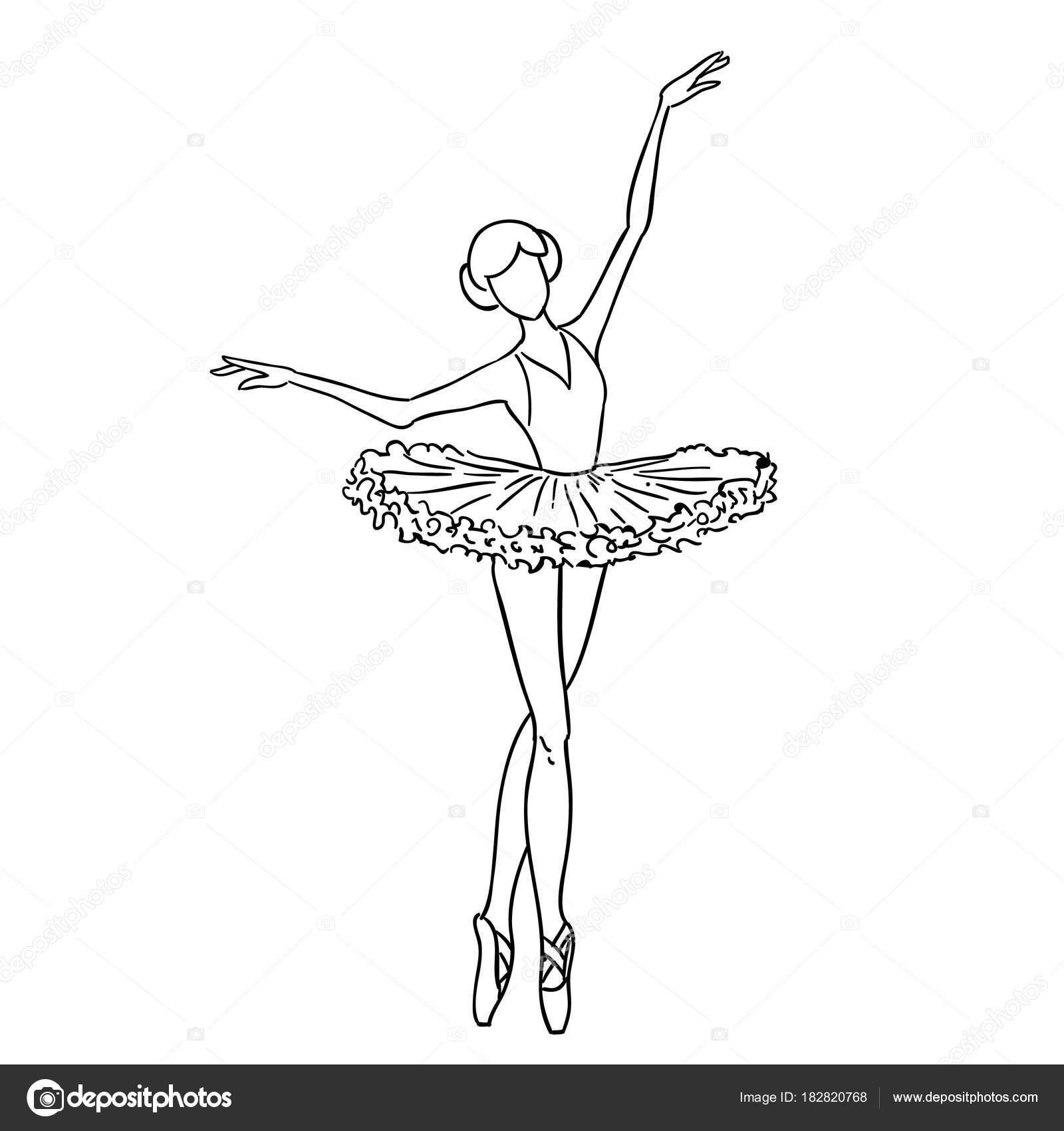 Illustration Of A Sketch Contour Drawing Of A Girl Ballerina Dancer Black And White Sketch Cartoon Doodle Stock Vector C Volodmar 182820768