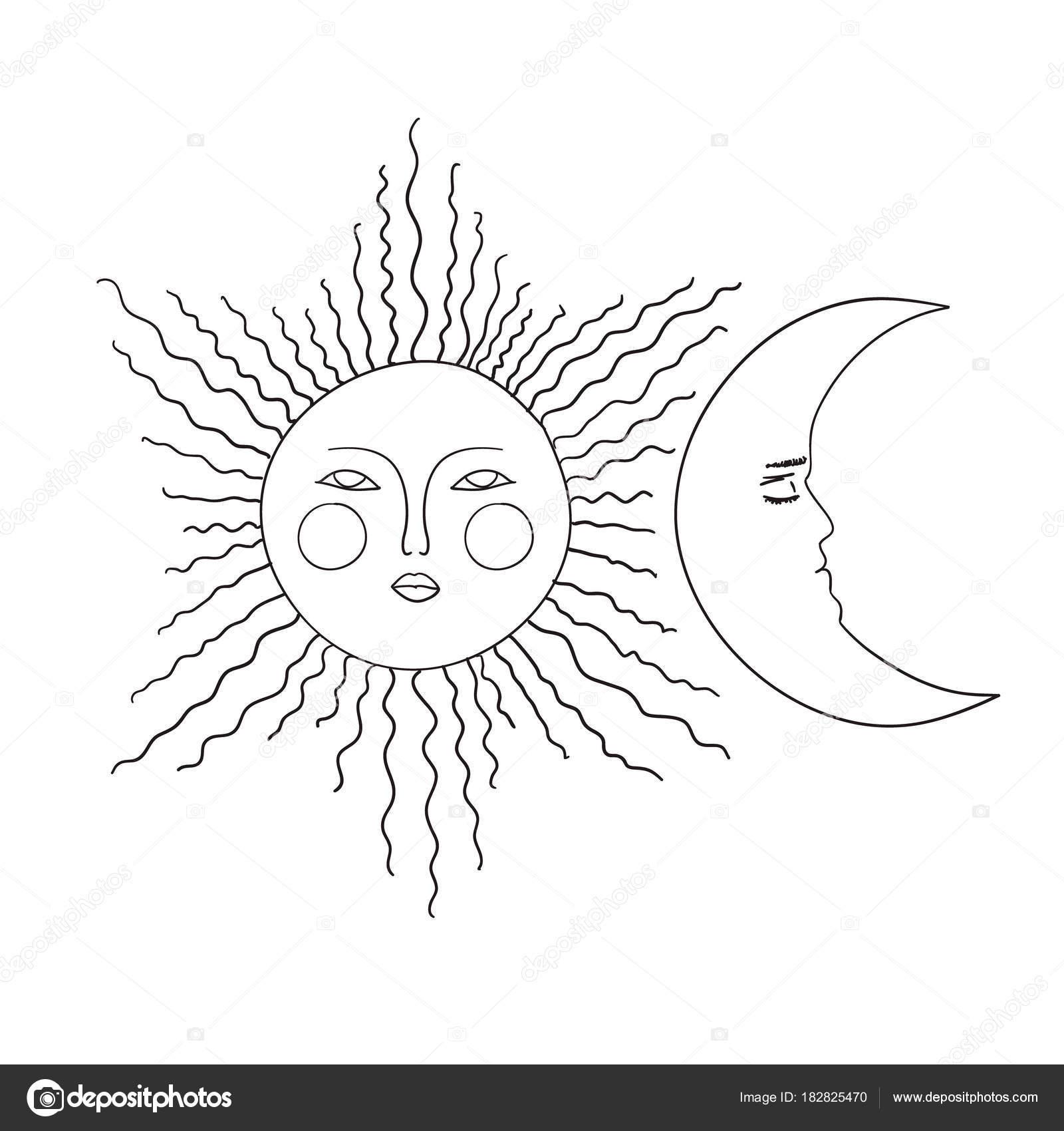 Ilustración De Vector De Doodle De Sol Luna Dibujo Blanco Y Negro De