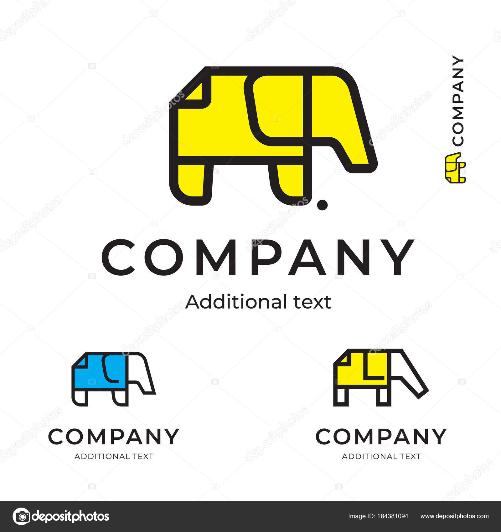 0c1bcc3725de Elephant of Paper Simple Logo Modern Identity Brand Icon Commercial Symbol  Concept Set Template — Stock