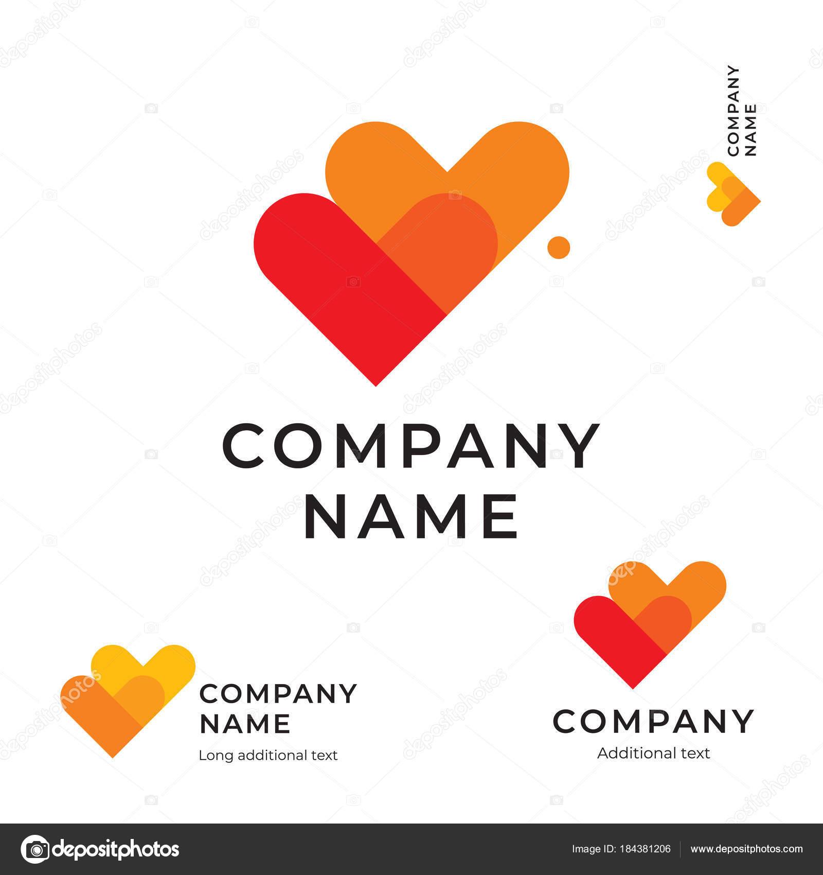 Marcas de verificación como dos corazón moderno Logo amor identidad ...