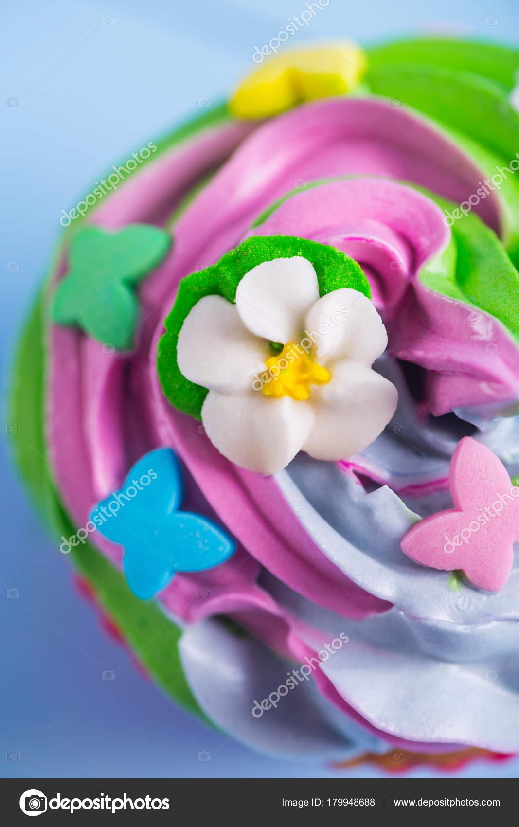 Closeup Queque Cremoso Multicoloridos Parte Superior Com