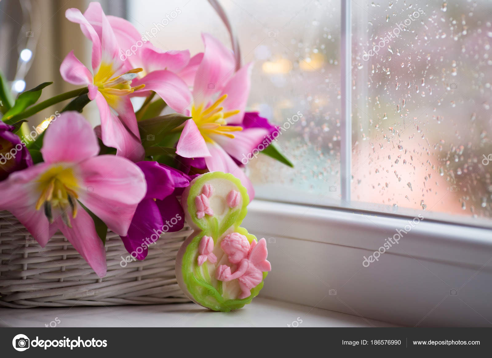 Decorative Figure Eight And Tender Bouquet Of Beautiful Pink Tulips