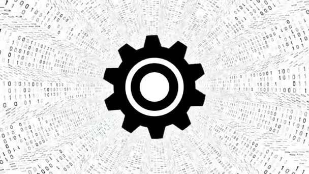 Black gear icon form black binary tunnel on white background. Digital technology concept. Seamless loop. More icons and color options available in my portfolio.