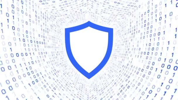 Kék pajzs ikon képernyőn kék bináris alagút-fehér alapon. Számítógép-biztonsági koncepció. Varrat nélküli hurok. További ikonok és színválaszték áll rendelkezésre az én portfólió.