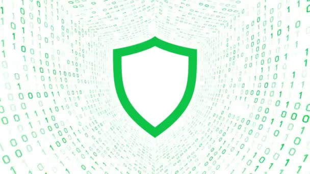 Zöld pajzs ikon zöld képernyő bináris alagút-fehér alapon. Számítógép-biztonsági koncepció. Varrat nélküli hurok. További ikonok és színválaszték áll rendelkezésre az én portfólió.