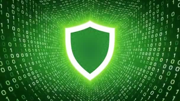Fehér pajzs ikon fehér képernyő bináris alagút-zöld háttér. Számítógép-biztonsági koncepció. Varrat nélküli hurok. További ikonok és színválaszték áll rendelkezésre az én portfólió.