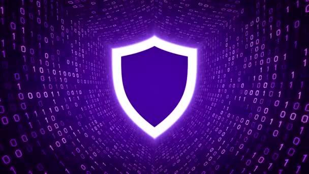 Fehér pajzs ikon formában lila bináris alagút-lila háttér. Számítógép-biztonsági koncepció. Varrat nélküli hurok. További ikonok és színválaszték áll rendelkezésre az én portfólió.