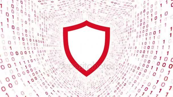 Vörös pajzs ikon piros képernyő bináris alagút-fehér alapon. Számítógép-biztonsági koncepció. Varrat nélküli hurok. További ikonok és színválaszték áll rendelkezésre az én portfólió.
