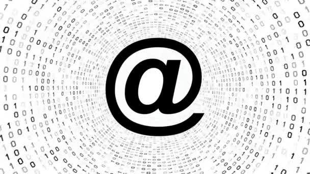 Černá e-mailové ikony formuláře černý binární tunel na bílém pozadí. Bezešvá smyčka. Další ikony a nastavení barev, které jsou k dispozici v mém portfoliu.