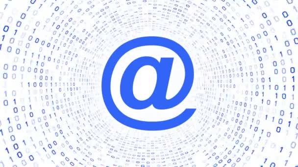 Modrá email ikony formuláře modré binární tunel na bílém pozadí. Bezešvá smyčka. Další ikony a nastavení barev, které jsou k dispozici v mém portfoliu.