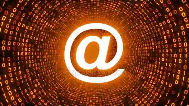 Bílá email ikonu formuláře zlaté binární tunel na černém pozadí. Bezešvá smyčka. Další ikony a nastavení barev, které jsou k dispozici v mém portfoliu.