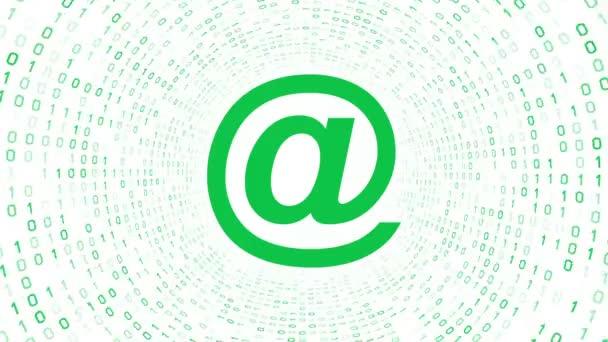 Zelený email ikony formuláře zelené binární tunel na bílém pozadí. Bezešvá smyčka. Další ikony a nastavení barev, které jsou k dispozici v mém portfoliu.