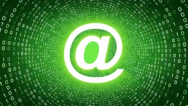 Bílá e-mailové ikony formuláře bílé binární tunel na zeleném pozadí. Bezešvá smyčka. Další ikony a nastavení barev, které jsou k dispozici v mém portfoliu.
