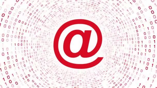 Červená e-mailové ikony formuláře Červený binární tunel na bílém pozadí. Bezešvá smyčka. Další ikony a nastavení barev, které jsou k dispozici v mém portfoliu.