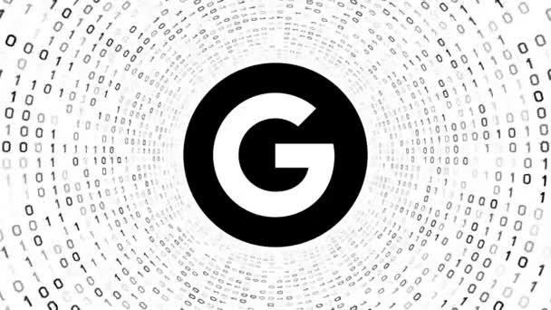 Szerkesztői animáció: Fekete Google logó fekete képernyő bináris alagút fehér háttér. Új Google G logo. Varrat nélküli hurok. Több logó és színválaszték áll rendelkezésre az én portfólió.