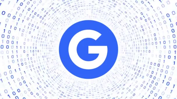 Editorial Animation: Blue Google logo form blue binary tunnel on white background. New Google G logo. Seamless loop. More logotypes and color options available in my portfolio.