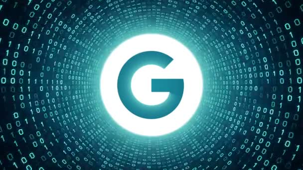 Editorial Animation: White Google logo form cyan binary tunnel on cyan background. New Google G logo. Seamless loop. More logotypes and color options available in my portfolio.