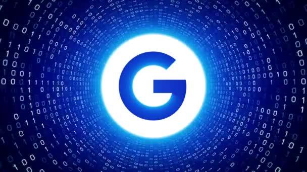 Redakční animace: Bílá Google logo podobě bílé binární tunel na modrém pozadí. Nové logo Google G. Bezešvá smyčka. Další logotypy a nastavení barev, které jsou k dispozici v mém portfoliu.
