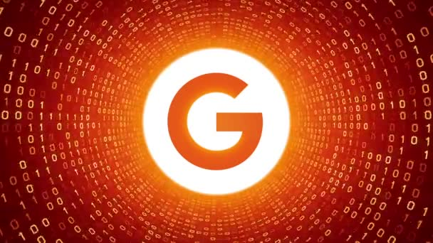 Editorial Animation: White Google logo form yellow binary tunnel on orange background. New Google G logo. Seamless loop. More logotypes and color options available in my portfolio.