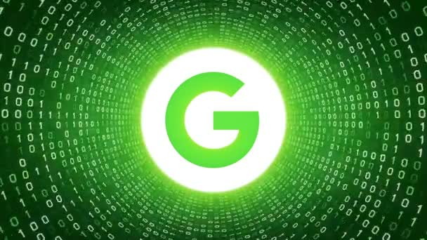 Editorial Animation: White Google logo form white binary tunnel on green background. New Google G logo. Seamless loop. More logotypes and color options available in my portfolio.
