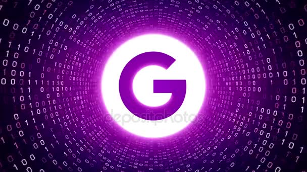 Editorial Animation: White Google logo form white binary tunnel on violet background. New Google G logo. Seamless loop. More logotypes and color options available in my portfolio.