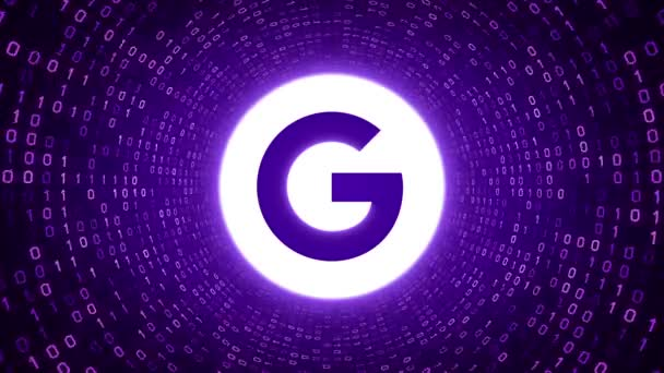 Editorial Animation: White Google logo form purple binary tunnel on purple background. New Google G logo. Seamless loop. More logotypes and color options available in my portfolio.