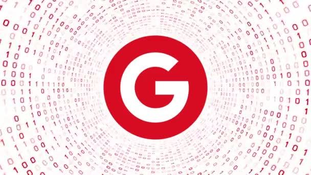 Editorial Animation: Red Google logo form red binary tunnel on white background. New Google G logo. Seamless loop. More logotypes and color options available in my portfolio.