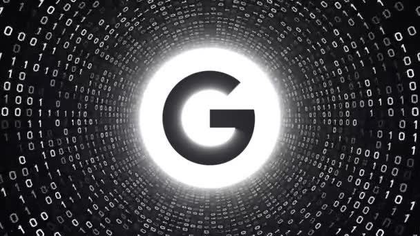 Editorial Animation: White Google logo form white binary tunnel on black  background  New Google