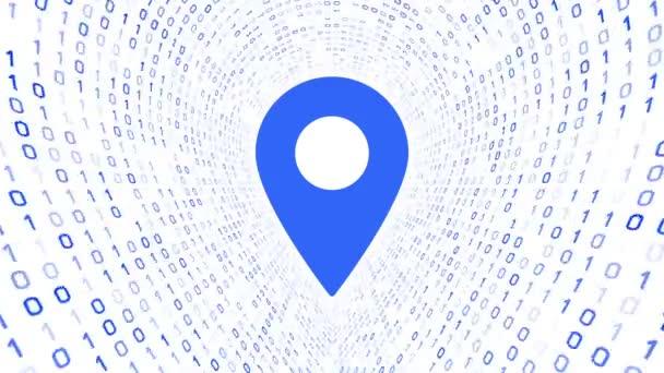 Kék helyen található ikon képernyőn kék bináris alagút-fehér alapon. Varrat nélküli hurok. További ikonok és színválaszték áll rendelkezésre az én portfólió.