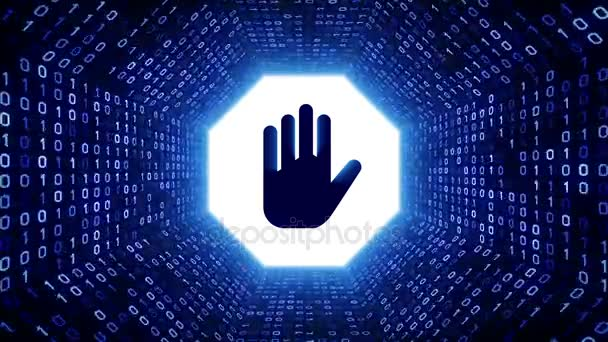 Modrá značka stop rukou podobě bílé binární tunel na černém pozadí. Bezešvá smyčka. Další ikony a nastavení barev, které jsou k dispozici v mém portfoliu.