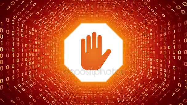 Narancssárga stoptábla kéz formája sárga bináris alagút-narancssárga háttérrel. Varrat nélküli hurok. További ikonok és színválaszték áll rendelkezésre az én portfólió.