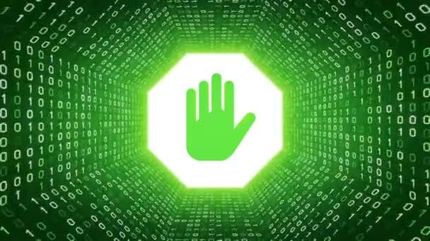 Zöld stoptábla kéz formája fehér bináris alagút-zöld háttér. Varrat nélküli hurok. További ikonok és színválaszték áll rendelkezésre az én portfólió.