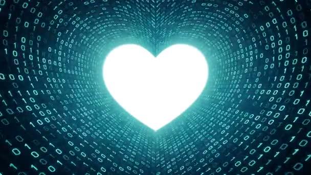 Weißes Herz Symbol Form Cyan binäre Tunnel auf Cyan Hintergrund. Nahtlose Schleife. Weitere Symbole und Farboptionen in meinem portfolio