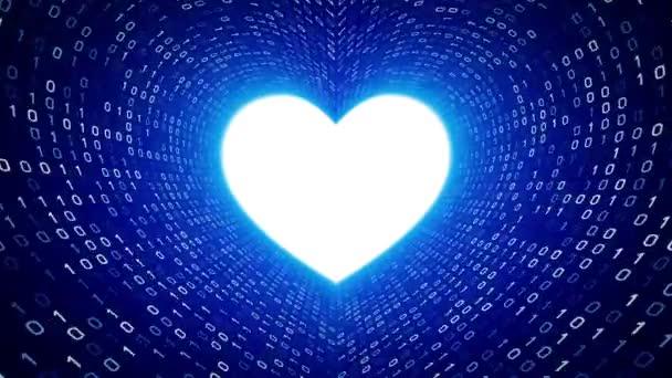 Weißes Herz Symbol Form weißen binäre Tunnel auf blauem Hintergrund. Nahtlose Schleife. Weitere Symbole und Farboptionen in meinem portfolio