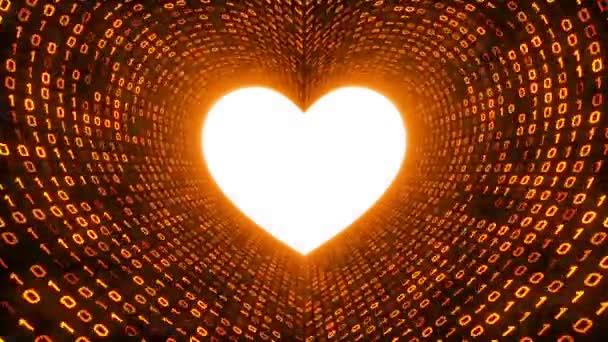 Das weiße Herz-Symbol bildet einen goldenen binären Tunnel auf schwarzem Hintergrund. nahtlose Schleife. mehr Symbole und Farboptionen in meinem Portfolio.