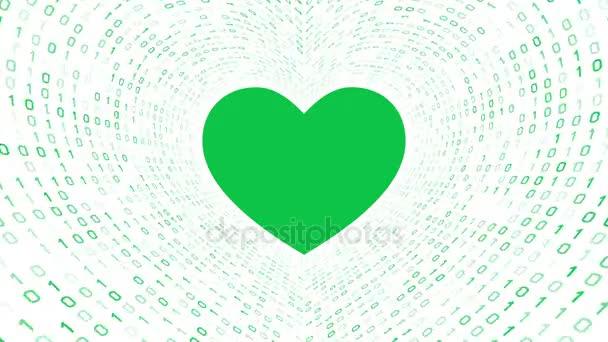 Grünes Herz Symbol Form grün binäre Tunnel auf weißem Hintergrund. Nahtlose Schleife. Weitere Symbole und Farboptionen in meinem portfolio.