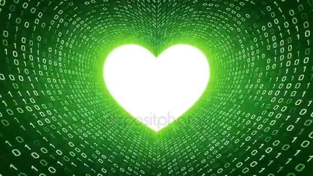 weißes Herz-Symbol bilden weißen binären Tunnel auf grünem Hintergrund. nahtlose Schleife. mehr Symbole und Farboptionen in meinem Portfolio.