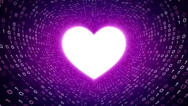 Weißes Herz Symbol Form weißen binäre Tunnel auf violettem Hintergrund. Nahtlose Schleife. Weitere Symbole und Farboptionen in meinem portfolio