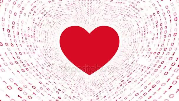 Červené srdce ikonu formuláře Červený binární tunel na bílém pozadí. Bezešvá smyčka. Další ikony a nastavení barev, které jsou k dispozici v mém portfoliu.