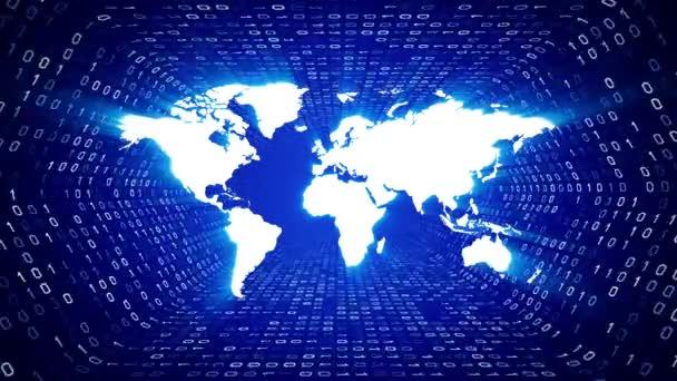 Bílý svět mapa silueta podobě bílé binární tunel na modrém pozadí. Bezešvá smyčka. Další ikony a nastavení barev, které jsou k dispozici v mém portfoliu.